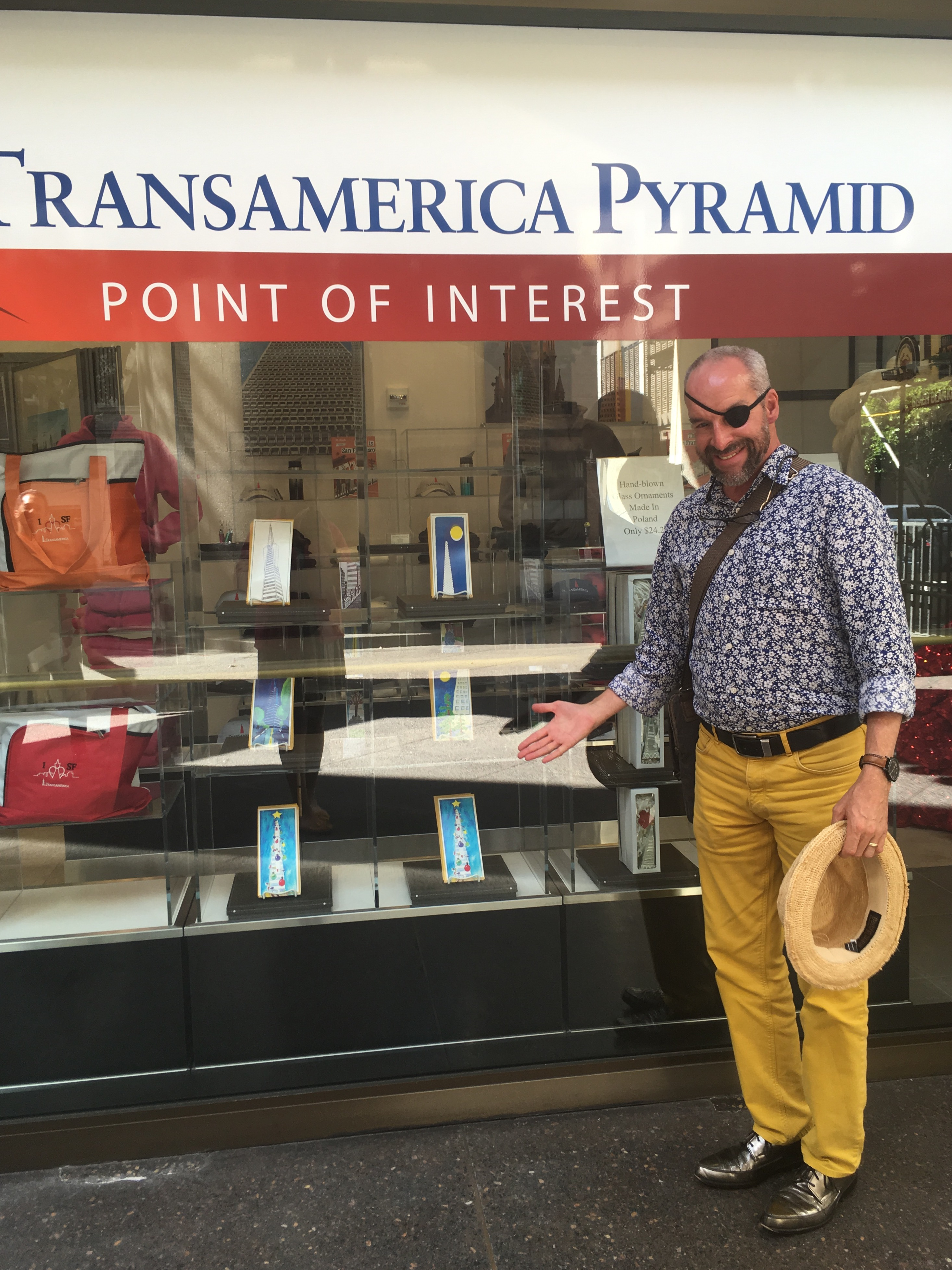 Kurt in front of storefront window at the Transamerica Pyramid - Point of Interest Gift Shop